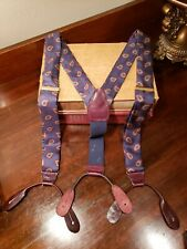 Vintage CAS Braces Suspenders Silk Leather Blue Paisley Made West Germany Brass