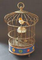 Chinese brass & cloisonné vintage Victorian oriental antique bird cage clock