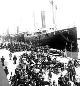 SPANISH AMERICAN WAR-1898-Dock-Tampa Soldiers on Day of Sailing Santiago de Cuba