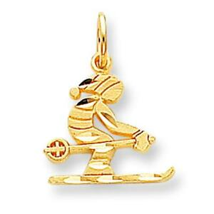 10K Yellow Gold Skier Charm Skiing Jewelry FindingKing 20 X 16mm