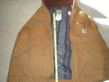 Carhartt Men's J01 Brown Duck Canvas Quilt Lined Jacket  Coat Construction Wear