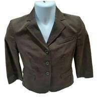 Ann Taylor Loft Womens Size 4 Petite Brown Blazer MSRP $89 NWT