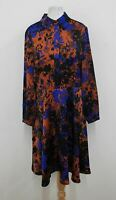 HOBBS Ladies Navy Blue Multicoloured Long Sleeved Floral Gia Dress UK12 NEW