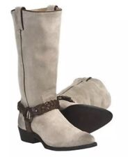 FRYE Billy Braided Harness Stone Gray Suede Leather Western Cowboy Boots 6.5 NWT