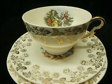 Vintage Homer Laughlin King Quality HLC2415 Teacup & 2 Saucers Victorian Couple