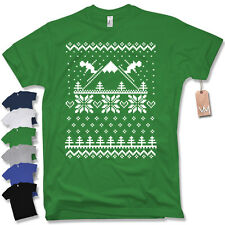 Camiseta T-Shirt Esquí ESTAMPADO Fun Santa Claus Navidad Modelo de punto T. S