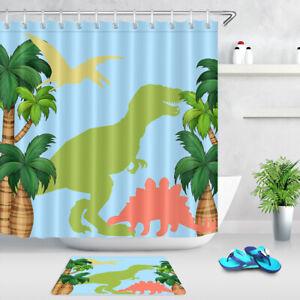 Kids Cartoon Style Dinosaurs Palm Trees FabricShower Curtain Set Bathroom Decor