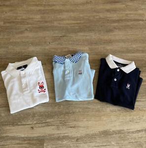 Lot Of 3 Psycho Bunny Boy's Short Sleeve Polo Shirt ~Size M (10/12)