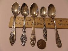 VINTAGE 5 STERLING SILVER SOUVENIR SPOON LOT ARIZONA, MT. RUSHMORE & MORE
