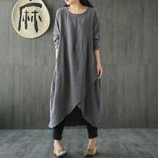 UK 8-24 ZANZEA Women Vintage Long Sleeve Tunic Baggy Long Maxi Dress Plus Size