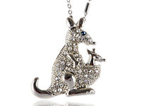Clear Diamante Rhinestone Mama Kangaroo Baby Joey Blue Pendant Necklace Jewelry