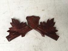Vintage Small Mahogany Shield Cuckoo Clock Crest for Parts / Repair  CC22