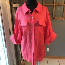 Calvin Klein NWT Modern Essentials Watermelon 100% Linen Tabbed Sleeve Blouse 1X