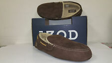 IZOD Men's Micro Suede Chocolate Slip Resistant Comfort Fit Cushioned Moccasins