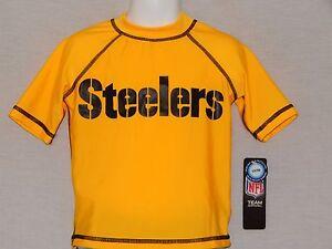 Pittsburgh Steelers Swimwear Shirt UV50 Sun New NFL Swimming Board Top Kids 5