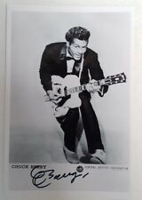 """ROCK N ROLL - Chuck Berry General Artists Reproduced Autograph 6""""X4"""" Postcard"""