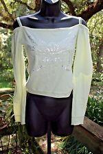 Dzarm long sleeve off shoulder sequin fairy angel faint green Brazil shirt ~ S