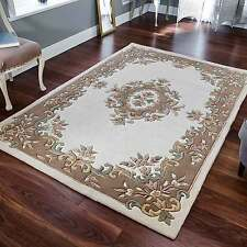 Indian Aubusson Cream Beige Wool Pile Traditional Rugs 160x235cm Chinese Design