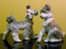 """Lladro """"Unexpected Visit"""" Dog w/ Bird + Dog with./Snail Tail Figurine $450"""