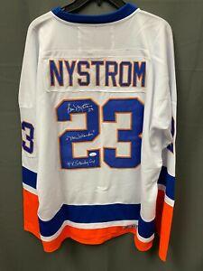 "Bobby Nystrom "" 4x Stanley Cup "" Signed Islanders Hockey Jersey JSA COA Sz XL"
