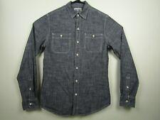 Mens Converse Small Gray Long Sleeve Button Front 100% Cotton Casual Shirt EUC