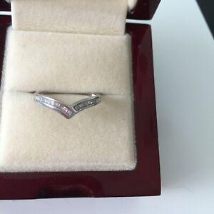 Diamanten Und Weißgold Querlenker Ring-Viertel Karat-Größe p.5
