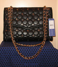 NWT $425 REBECCA MINKOFF Affair Large ShoulderBag LeatherDiamondQuilt GoldStuds
