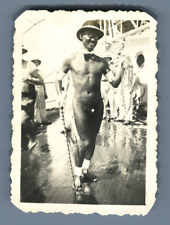 Marine Française, Croiseur Lamotte Picquet. Baptême de la Ligne plein Océan  Vin