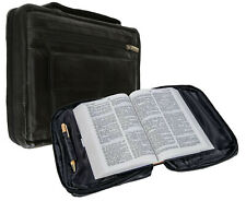 Black Genuine Leather Bible Organizer Book Cover Carrying Case Bag Zip