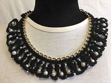 Handmade Crochet Pearls Necklace Chain Black