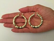 14 K GOLD PLATED BAMBOO STYLE HOOP EARRINGS WITH SNAP IN CLOSING 43 MM J 400