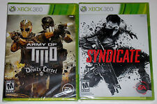 XBox 360 Game Lot - Syndicate (New) Army of Two The Devil's Cartel (New)