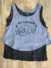 City Chic Day Dreamers-Lace Tank + Short Tank-Black/Gray- Plus Size XS=14W -NWT