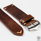 Camel Light Brown Genuine Leather Vintage Style Watch Strap 18, 20mm & 22mm