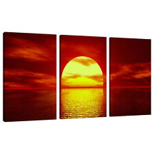 Set of 3 Piece Red Canvas Wall Art Pictures UK Sunset Living Room 3001