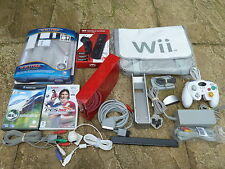 NINTENDO WII CONSOLE BUNDLE JOB LOT in Red 2 GAMES CONTROLLER REMOTE NUNCHUK BAG