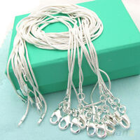 WOMENS MENS 10PCS 1MM SILVER PLATED NECKLACE SNAKE CHAIN 16-24IN WHOLESALE BD2K