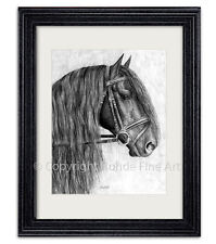 Friesian Stallion dressage horse Framed Art gorgeous portrait artist signed