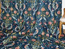 """WILLIAM MORRIS Seasons By May CURTAINS Interlined LINEN Indigo Ea104""""W 109""""D NEW"""