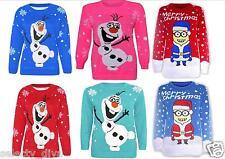 Nuevos Niños Niñas Minion Novedad Olaf Frozen Suéteres De Navidad 3-12 años