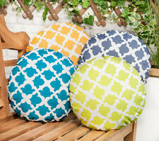 """Arabesque Charcoal 15"""" Round Ethnic Outdoor Water Resistant Scatter Cushion"""