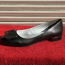 Süße ECHTLEDER Damen LACK Ballerinas HEINE Schuhe Slipper Silber Schwarz Gr. 42