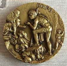 LOT-2,TRAGIC HERO,KING THEBES,OEDIPUS AND SPHINX.HUGE BRONZE MEDAL80 mm