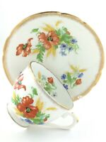 Vintage Teacup and Saucer Stanley Fine Bone China England Flowers Footed T173