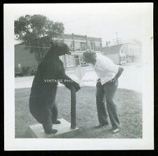 Vintage Snapshot Photo Man With Taxidermy Bear Unusual Strange