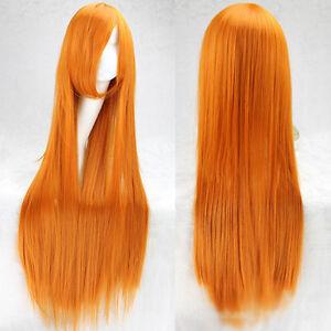 Super Long 100CM Full Wigs Pretty Cosplay Costume Hair Anime Wavy Straight Curl