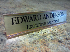 Personalized Desk Name plate nameplate with Gold Color Aluminum Holder 2 x 10