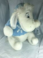 "Disney Store Exclusive Eeyore Plush Snowflake Sweater White Fur 12"" Winnie Pooh"