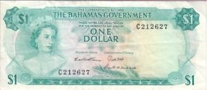 BAHAMAS BANKNOTE P. 18b-2627, 1 DOLLAR 1965 PREFIX C ELIZABETH II, VF