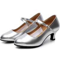 Soft Sole Womens Latin Dance Shoes mid heels Mary Jane shoes Prom Ankle Strap SZ